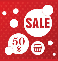 Sale icon with basket in red color vector