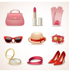 Woman accessories icon set vector