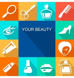 Beauty and makeup flat icons vector