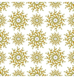 Seamless pattern of colored leaves on an orange vector