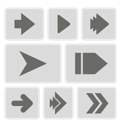 Monochrome icons with arrow symbols vector