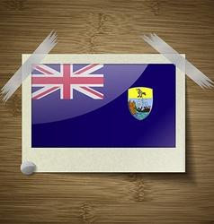 Flags saint helena at frame on wooden texture vector