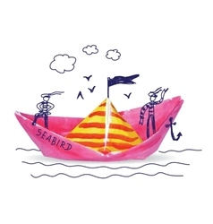 Ship sea child doodles and paper object vector