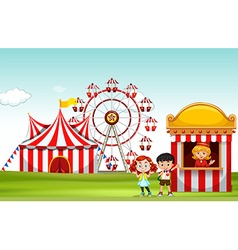 Children buying ticket at the fun park vector