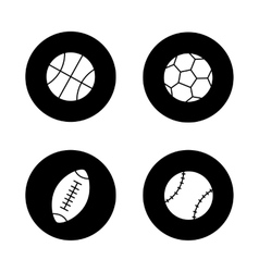 Sport balls black icons set vector