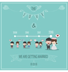 Duration cute cartoon wedding couple men and women vector