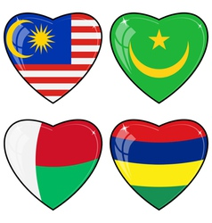 Set of images of hearts with the flags of malaysia vector