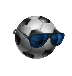 black and white soccer ball wearing sunglasses vector image vector image