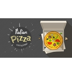 Box with italian pizza vector image vector image