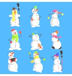 Classic snowmen made of three snowballs character vector