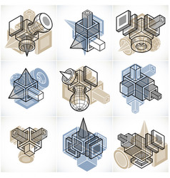 collection of abstract different dimensional vector image