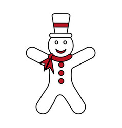 Color silhouette image of gingerbread man with vector