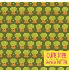 Cute cartoon tree oak seamless pattern vector image vector image