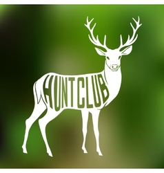 Deer Silhouette with text inside on blur vector image