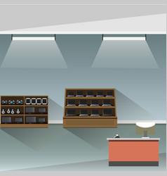 Electronics store shop interior banner vector