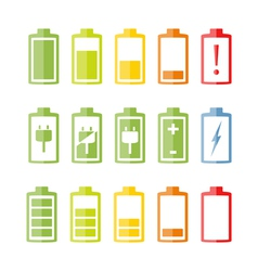 Flat battery icons set vector