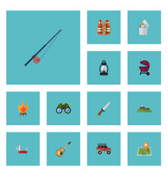 flat icons suv barbecue hunting cutter and other vector image vector image