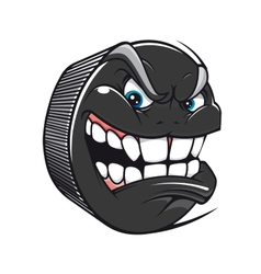 Hockey puck with an evil toothy grin vector image