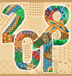 number 2018 zentangle decorative object number vector image