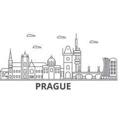 prague architecture line skyline vector image