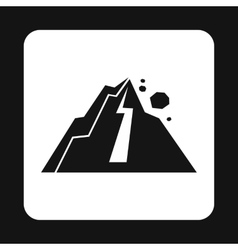 Rockfall in mountains icon simple style vector