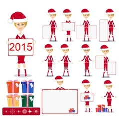 Santa Girl with Gifts and poster vector image