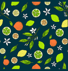 seamless citrus pattern with yellow lemons bitter vector image vector image