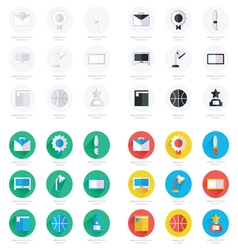 Set of flat school and education icons set vector image