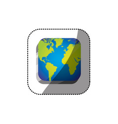 Sticker color square 3d button with map continents vector
