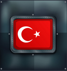 Turkey flag on metalic background vector