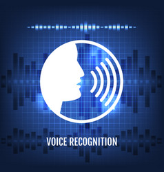voice recognition tech icon vector image vector image