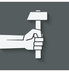 Working symbol hand with hammer vector
