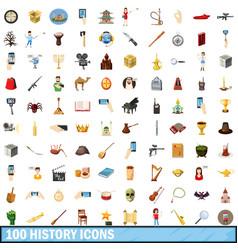 100 history icons set cartoon style vector