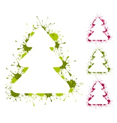 Set of Christmas trees backgrounds with splashes vector image