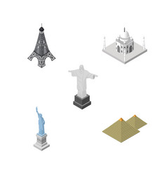 Isometric architecture set of paris new york vector
