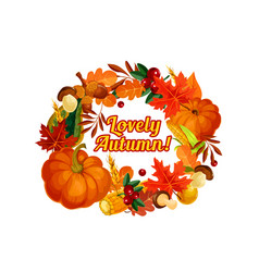 Autumn harvest pumpkin corn leaf poster vector