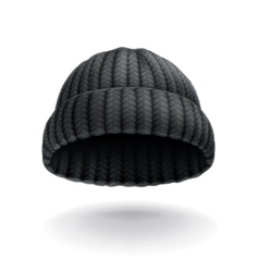 Beanie black cap icon vector