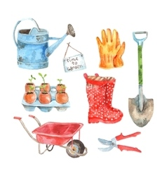 Gardening watercolor pictograms collection set vector