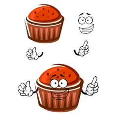 Cartoon cupcake character with happy face vector