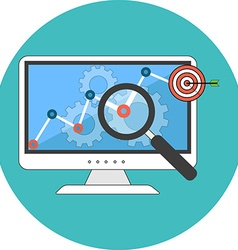 Seo concept flat design icon in turquoise circle vector