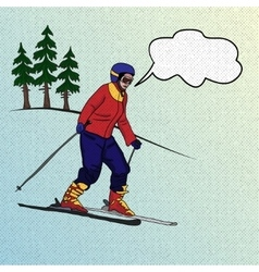 Girl skier on downhill vector