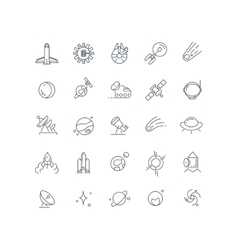 Space and astronomy line icons vector
