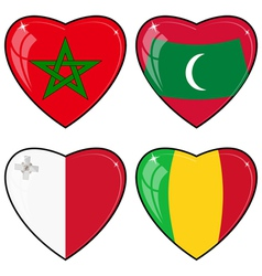 Set of images of hearts with the flags of mali vector