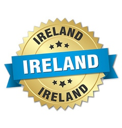 Ireland round golden badge with blue ribbon vector