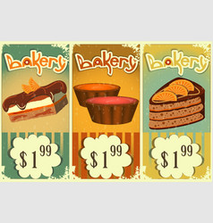Cake price tags vintage vector
