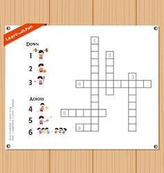 Crossword education game for children about sports vector