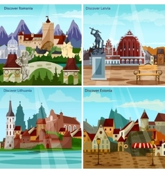 European cityscapes concept icons set vector