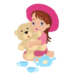 A girl playing with her toys vector image