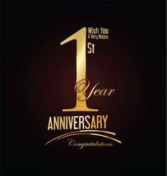 anniversary golden sign 1 year vector image vector image