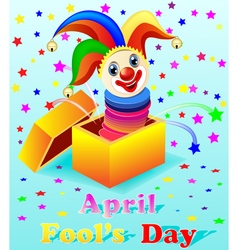 April fools day with a cheerful clown vector